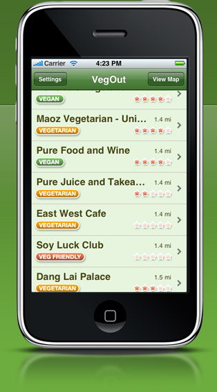 VegOut on iPhone - screenshot